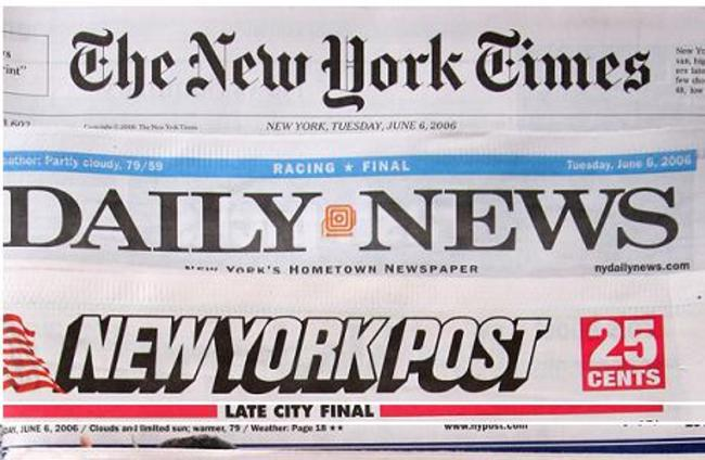 The premiere U.S. edition of The Times of London, bottom, is photographed with Tuesday editions of The New York Times, Daily News, and New York Post June 6, 2006 in New York. Rupert Murdoch's newspaper launched the U.S. edition as part of a push to make the paper an international brand, entering a competitive New York market at a challenging time in the industry. Murdochs News Corp. also owns the New York Post. (AP Photo/Mark Lennihan)