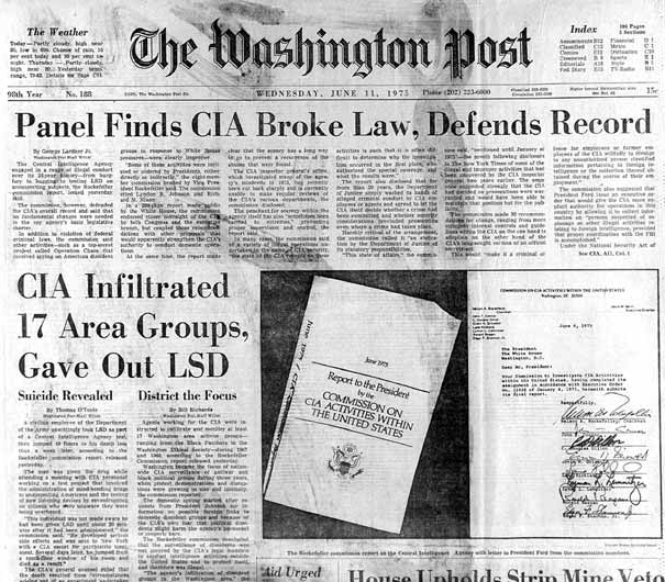 Washington Post article regarding the CIA breaking the law by administering LSD to prisoners