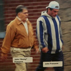 """John Franzese Jr walking with his father who he informed on, """"Sonny"""" Franzese Sr"""
