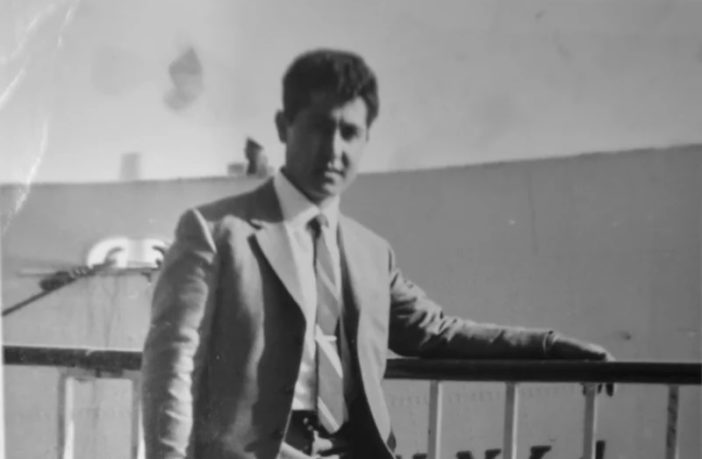 1962. Diego Luppino in front of the ship he left Italy on