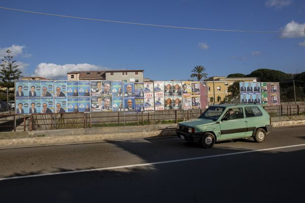 Political Posters Line Calabrian Streets