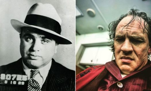 Tom Hardy (right) in the makeup chair getting ready to portray AlCapone (left) in the upcoming movie, Capone.