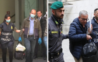 Angelo and Gaetano Fontana being escorted by police after their arrest during raids in Milan.