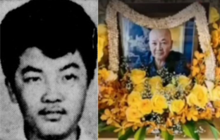 "Roland ""Mr. Big"" Tan, European drug lord, has died age 72. Here he is as a young man (left) and a shrine dedicated to him."