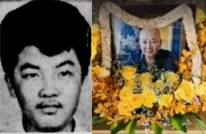 """Roland """"Mr. Big"""" Tan, European drug lord, has died age 72. Here he is as a young man (left) and a shrine dedicated to him."""