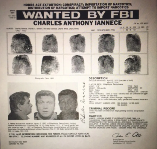 """An FBI wanted poster for Charles """"Charlie White"""" Iannece."""
