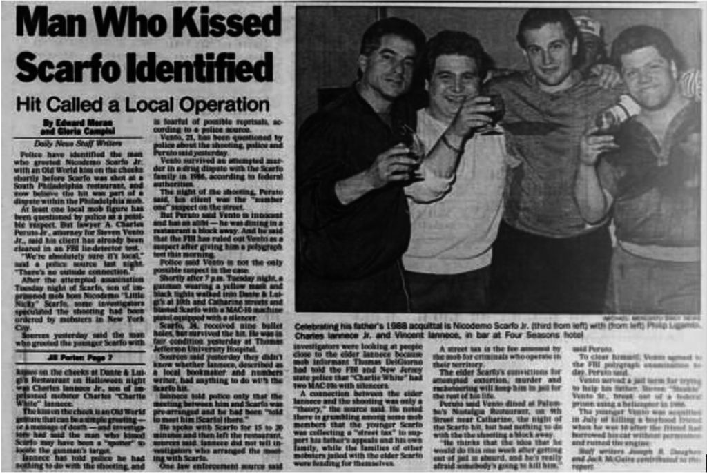 Philadephia Daily News, 11-3-1989. Charles Iannece Jr. is 2nd from left, next to him, 3rd from the left is Nicky Scarfo Jr.