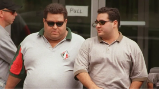 Pat (Left) and Angelo Musitano leaving court in 1998. Pat was murdered on Friday in Burlington, Ontario. Angelo was murdered outside his home in 2017.